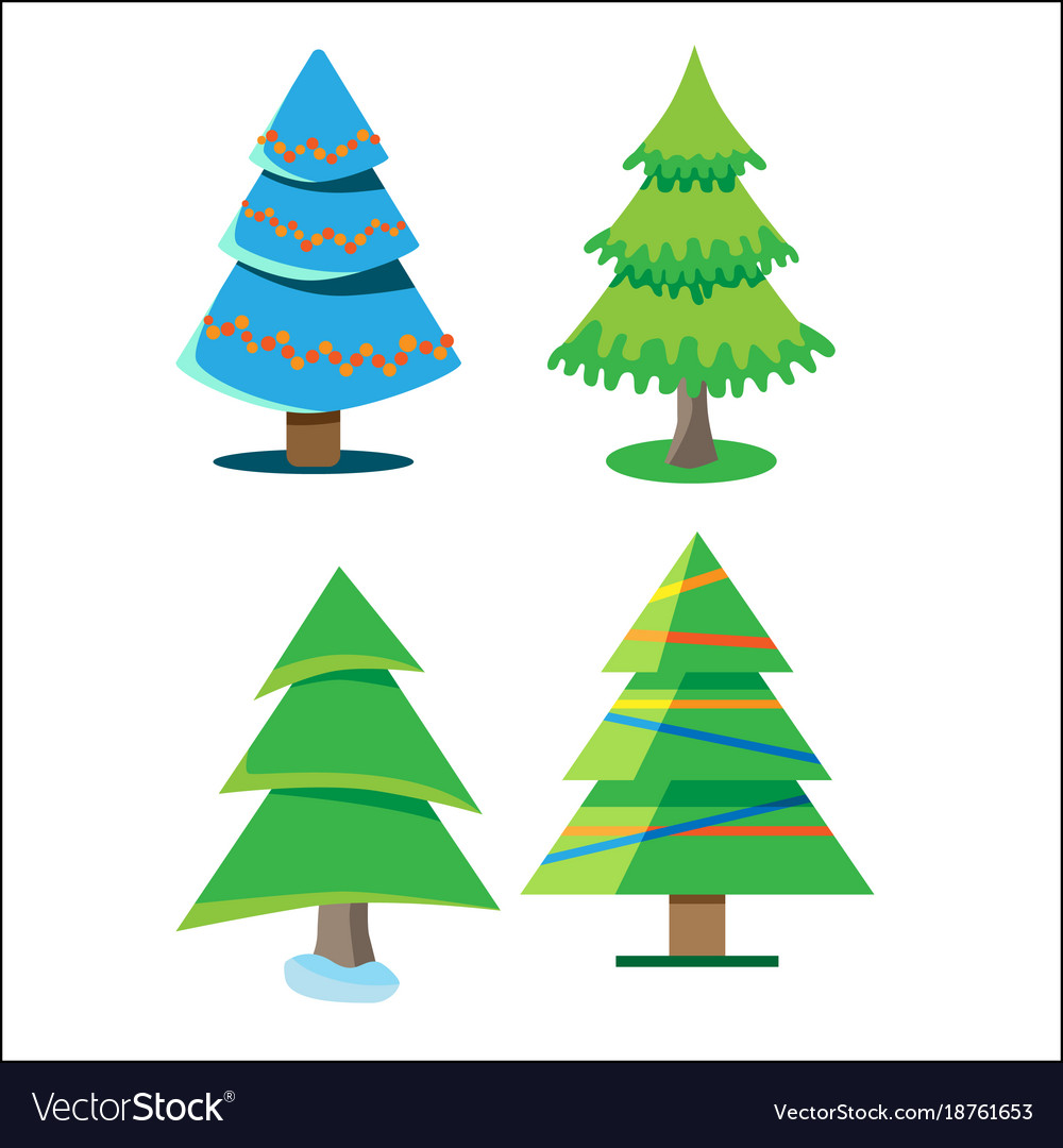 Four christmas trees with different colors and Vector Image