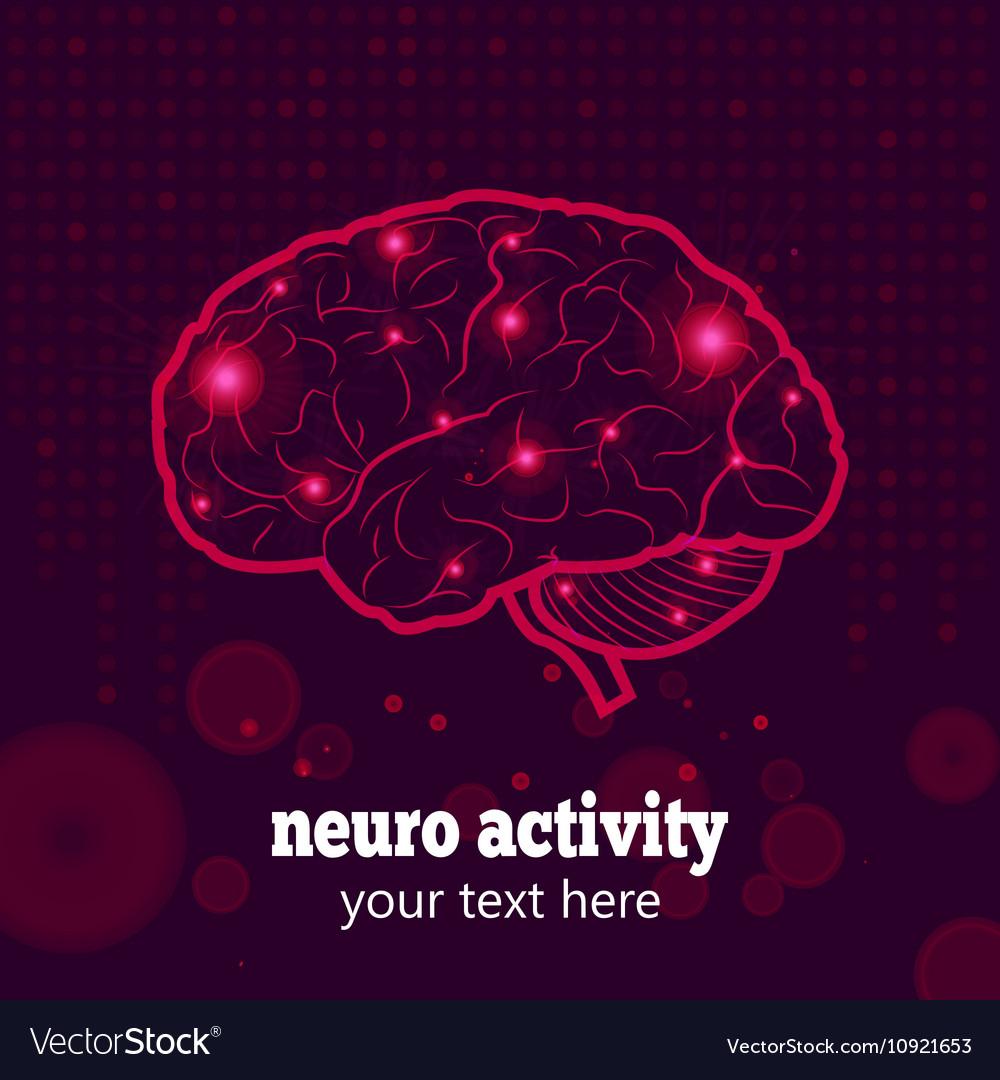 Human brain neural activity vector image