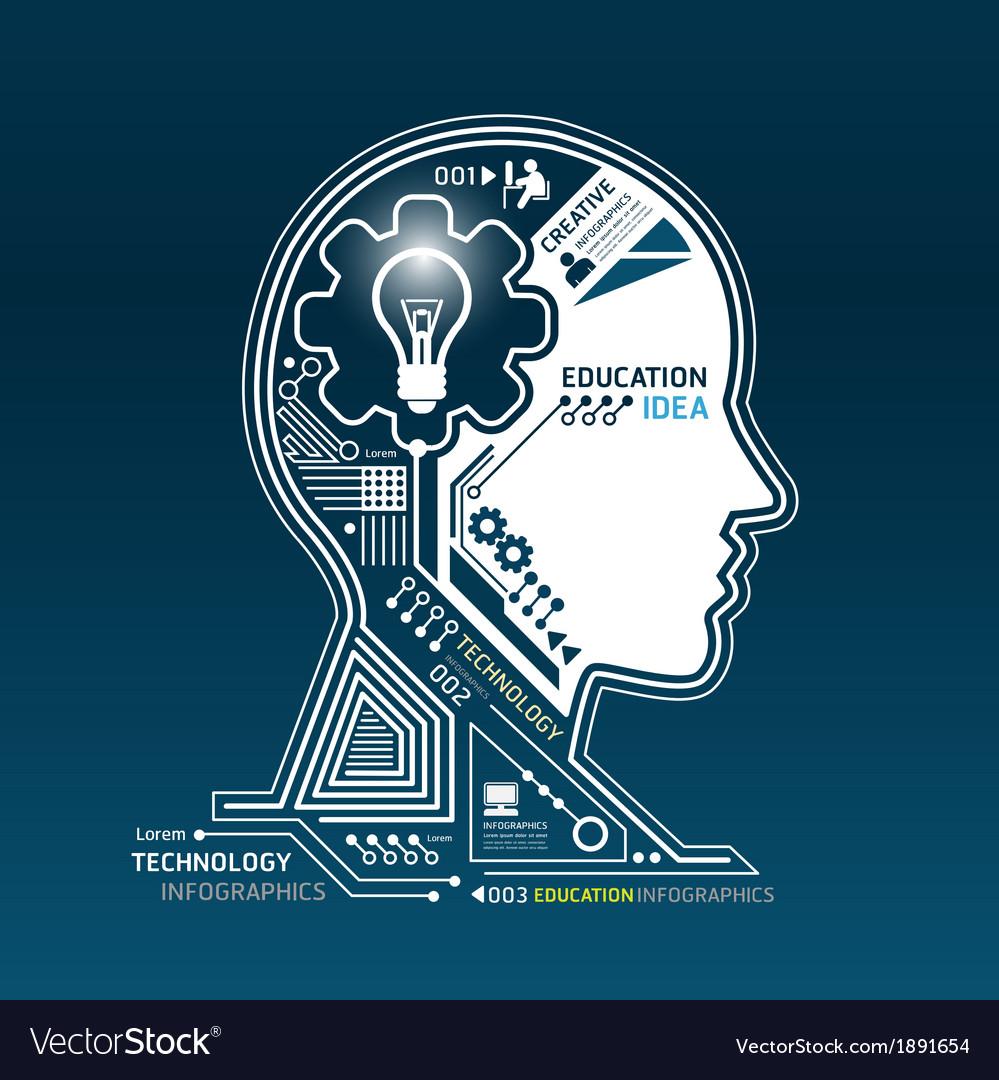 Creative head abstract circuit technology vector image