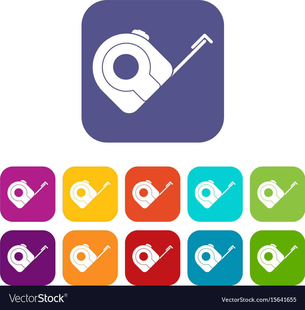Roulette construction tool icons set flat vector image