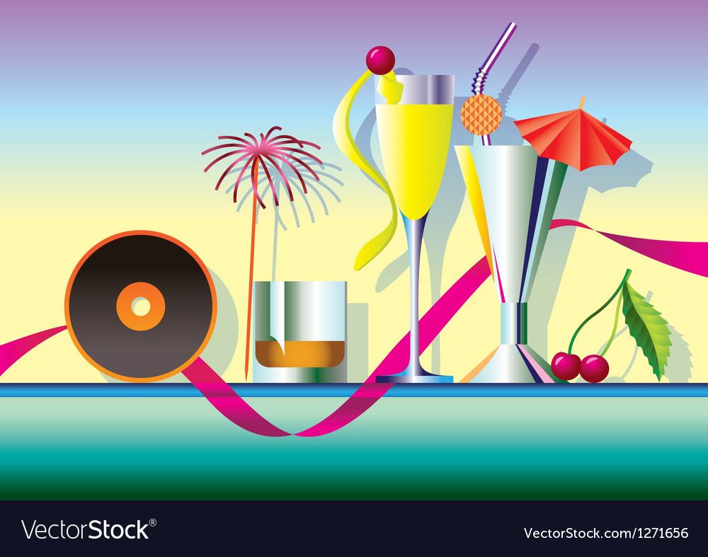 Delicious cocktails garnished with music vector image