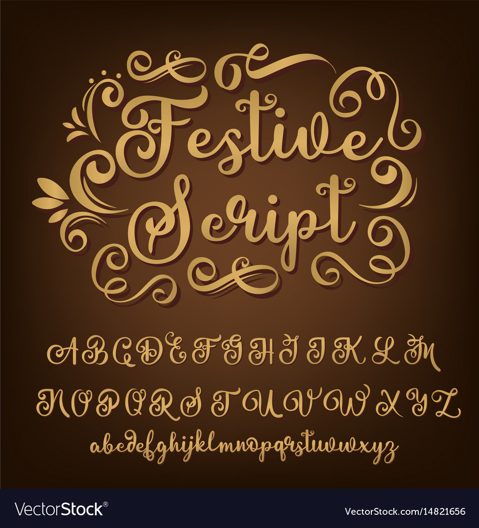 Gold calligraphy tattoo alphabet english script vector image