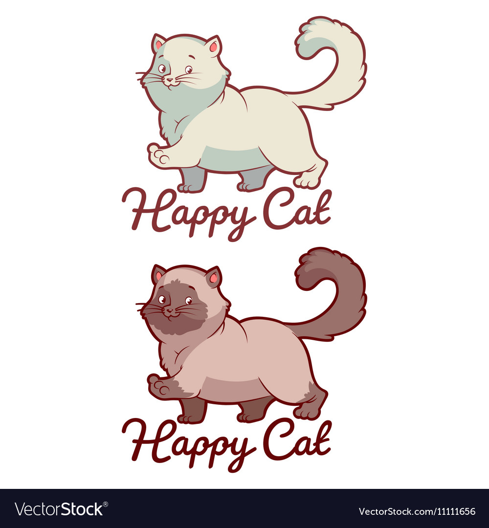 Logo template for pet shop with happy cat vector image