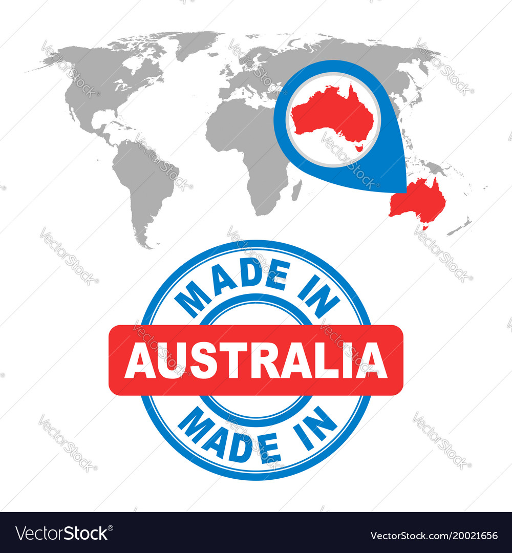 Made in australia stamp world map with red vector image gumiabroncs Choice Image