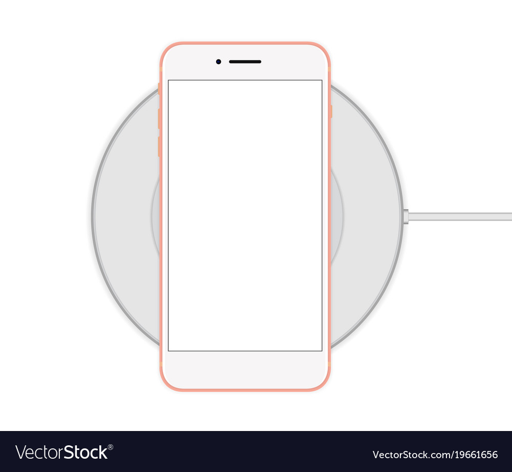 Phone on the cordless charger vector image