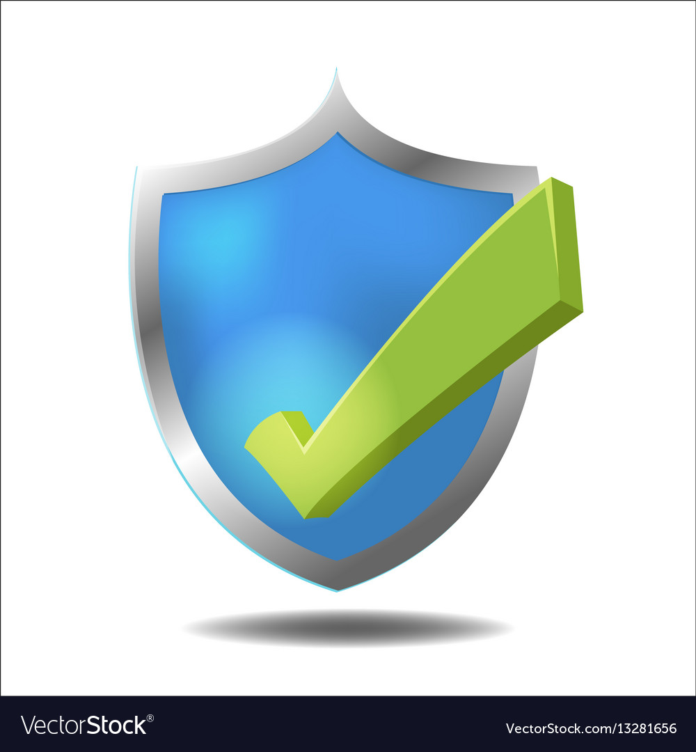 Shield check green mark symbol vector image