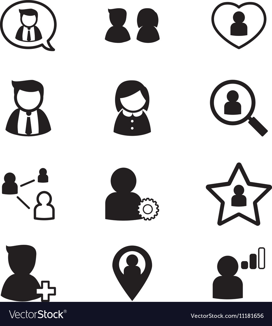 User Avatar icons set for social network vector image