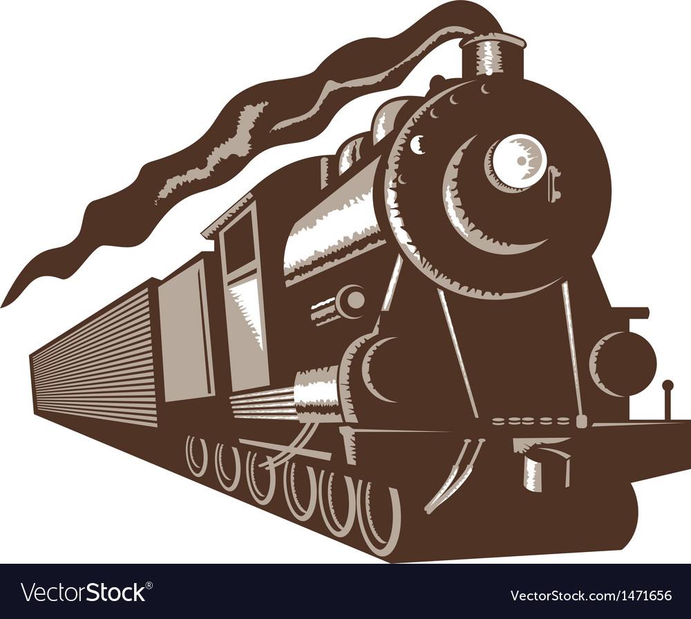 Vintage steam train locomotive vector image