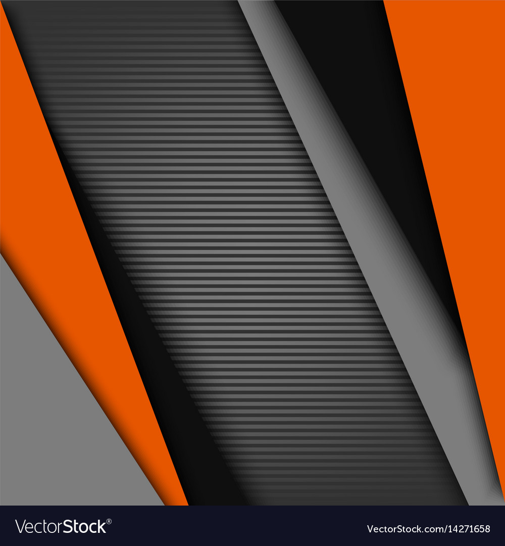 Abstract background with black gray orange design vector image