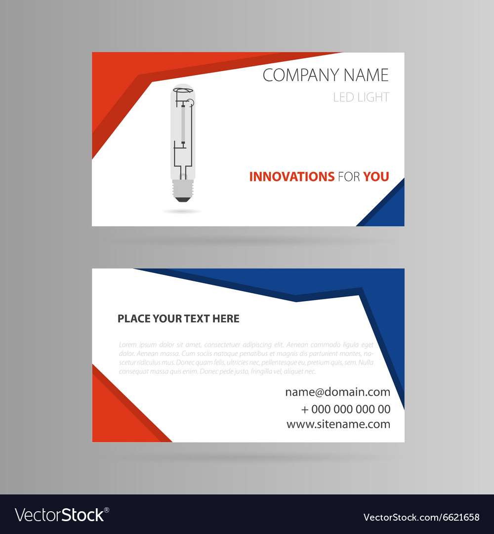 Template business card with LED bulb Royalty Free Vector