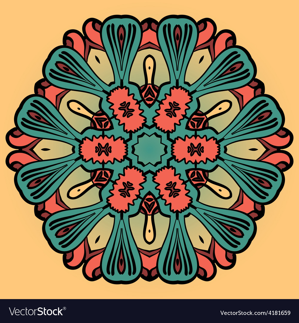 Mandala flower design over yellow pattern vector image