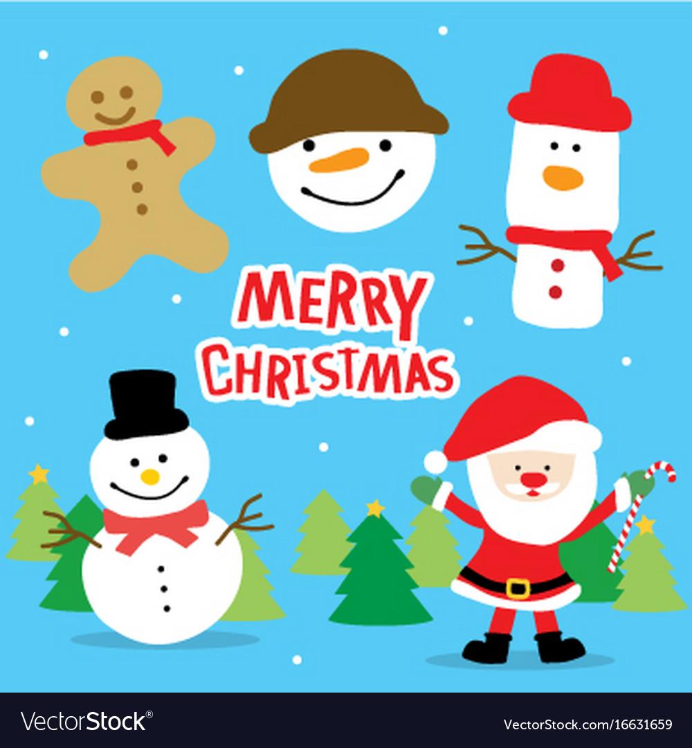 merry christmas santa and snowman cartoon vector image - Santa And Snowman