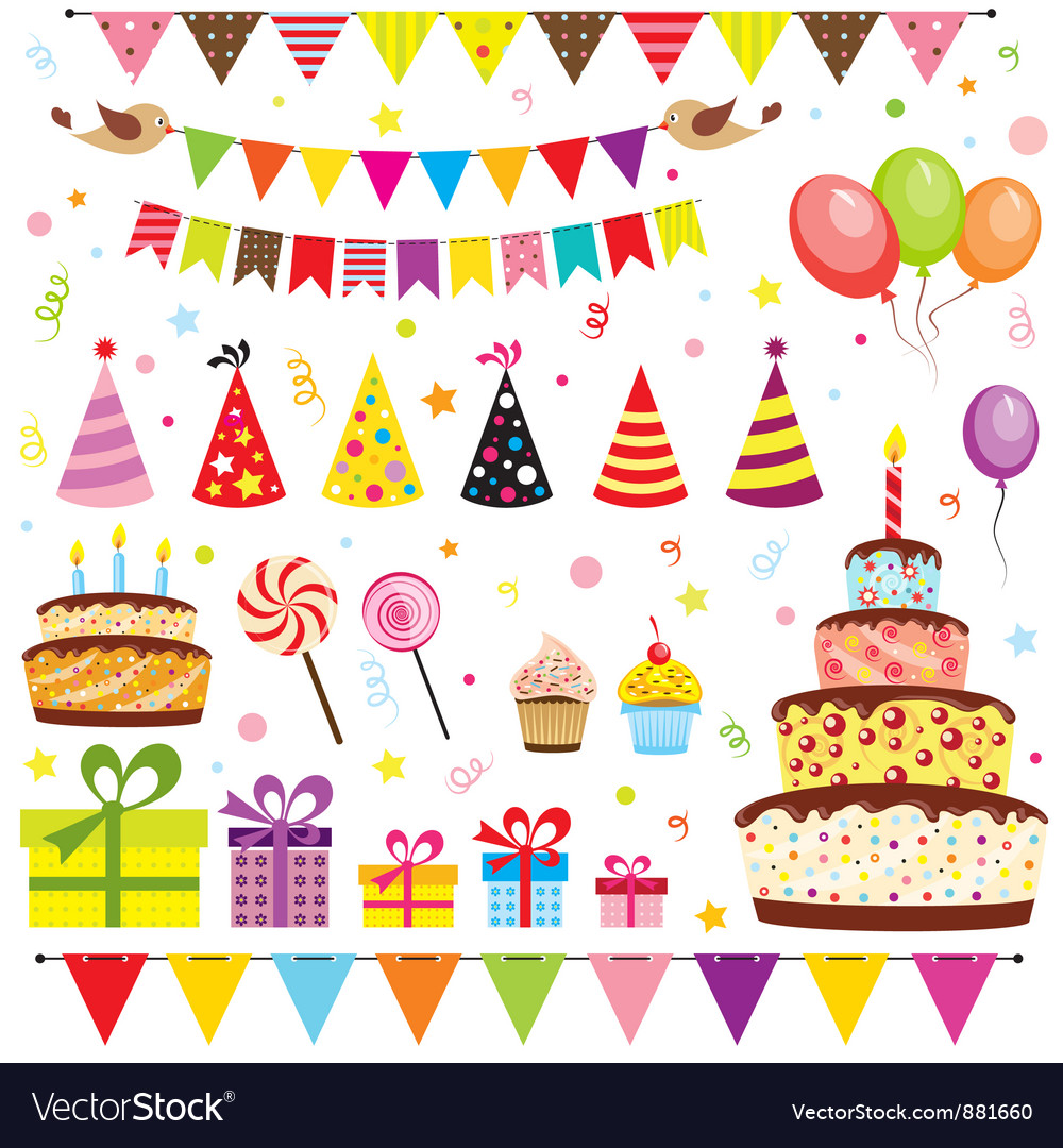 Set of birthday party elements Vector Image