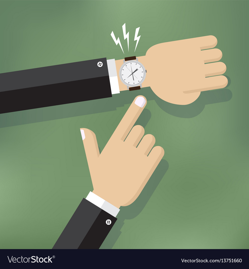 Hand pointing at watch vector image