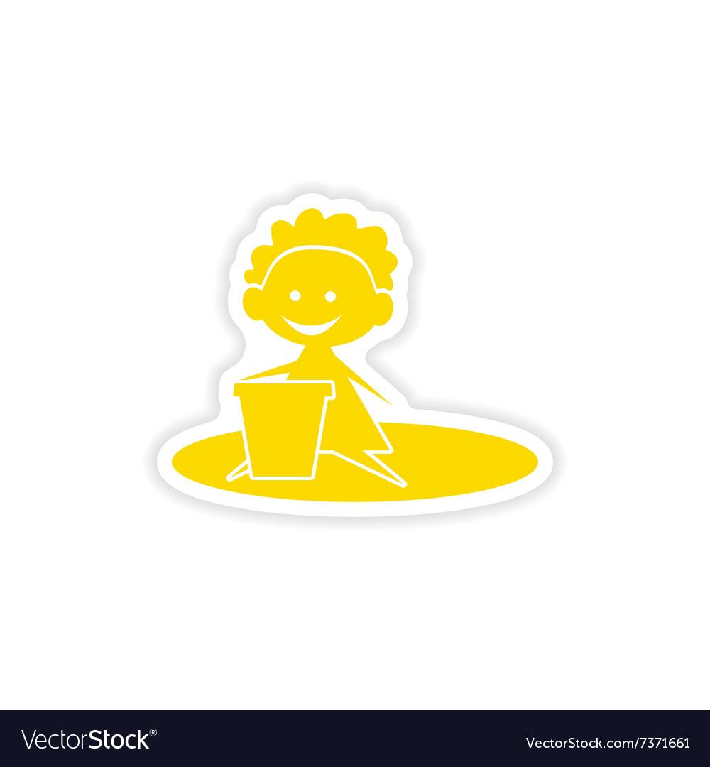 Icon sticker realistic design on paper baby sand