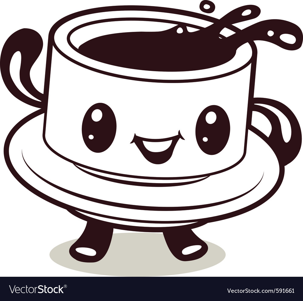 Larger preview vector clip art of a happy yellow coffee cup character - Coffee Cup Cartoon Vector Image