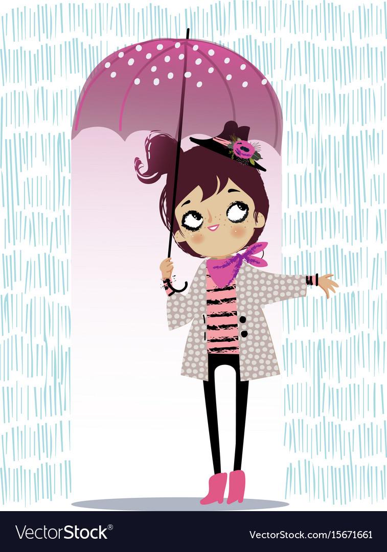 Cute autumn girl with umbrella vector image