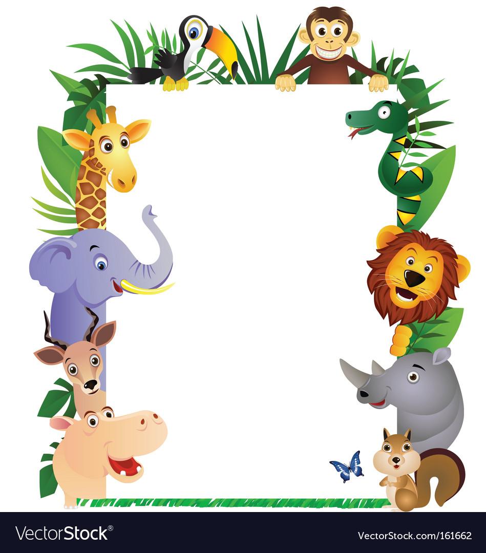 Animal cartoon frame vector image