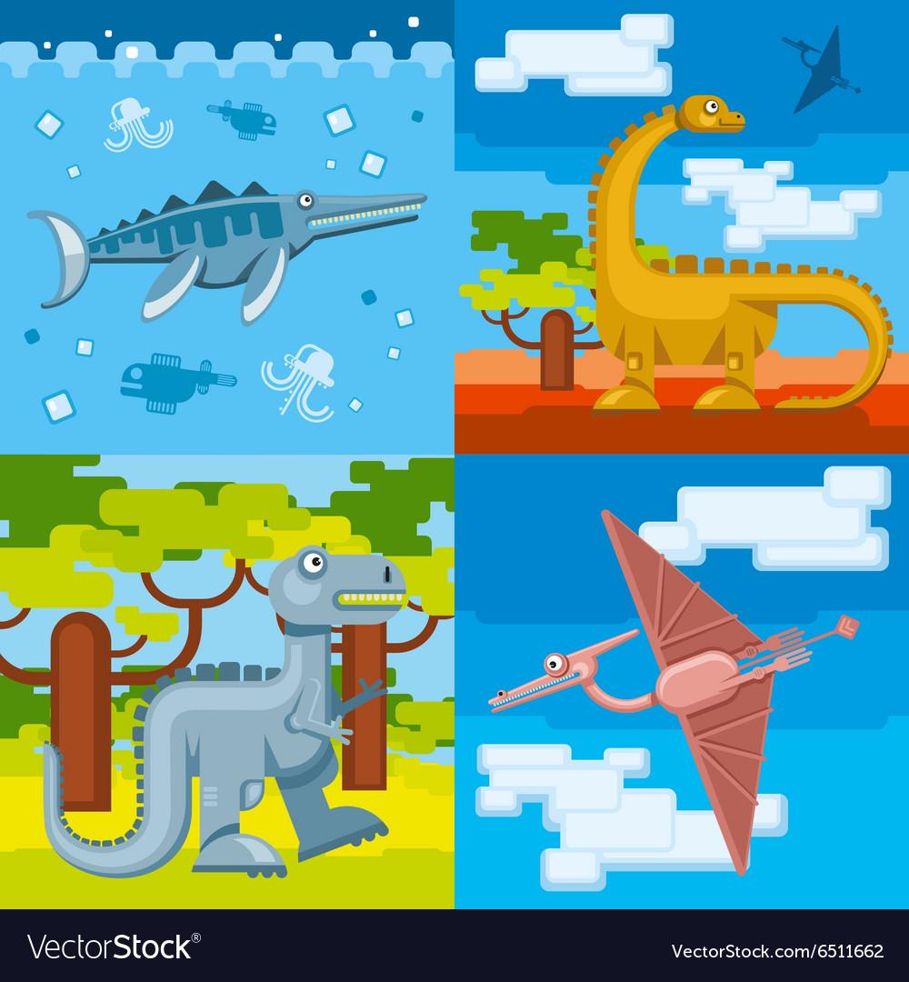 Dinosaur prehistoric concept backgrounds set in vector image