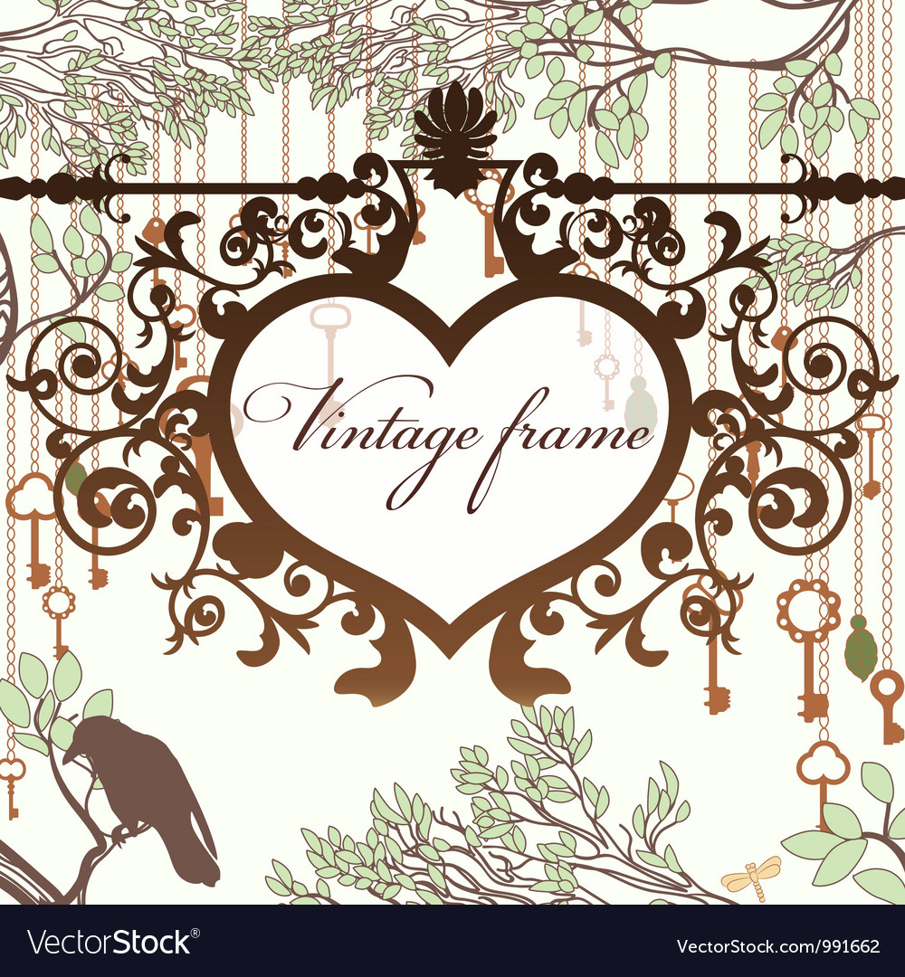 Vintage background with wrought heart frame and vector image
