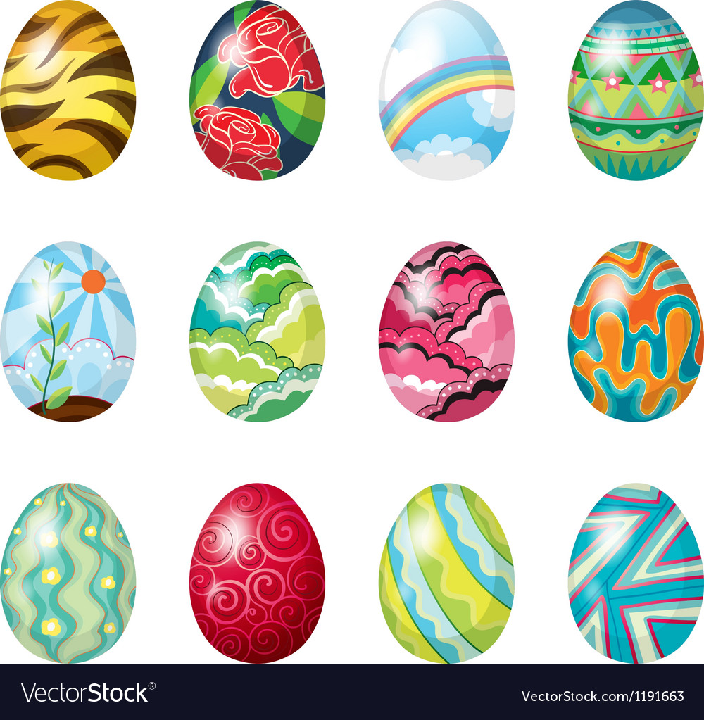 A dozen of colorful easter eggs vector image