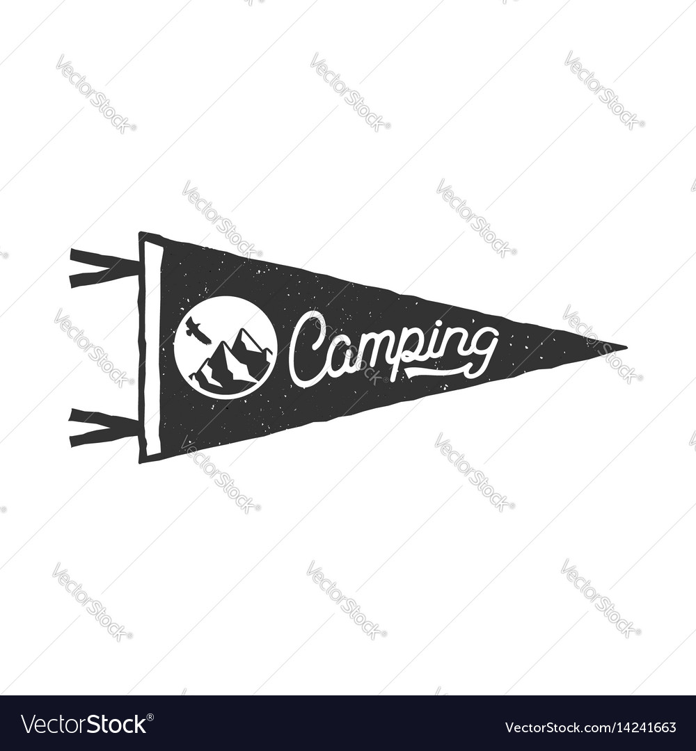 Camping pennant template tent and text sign vector image