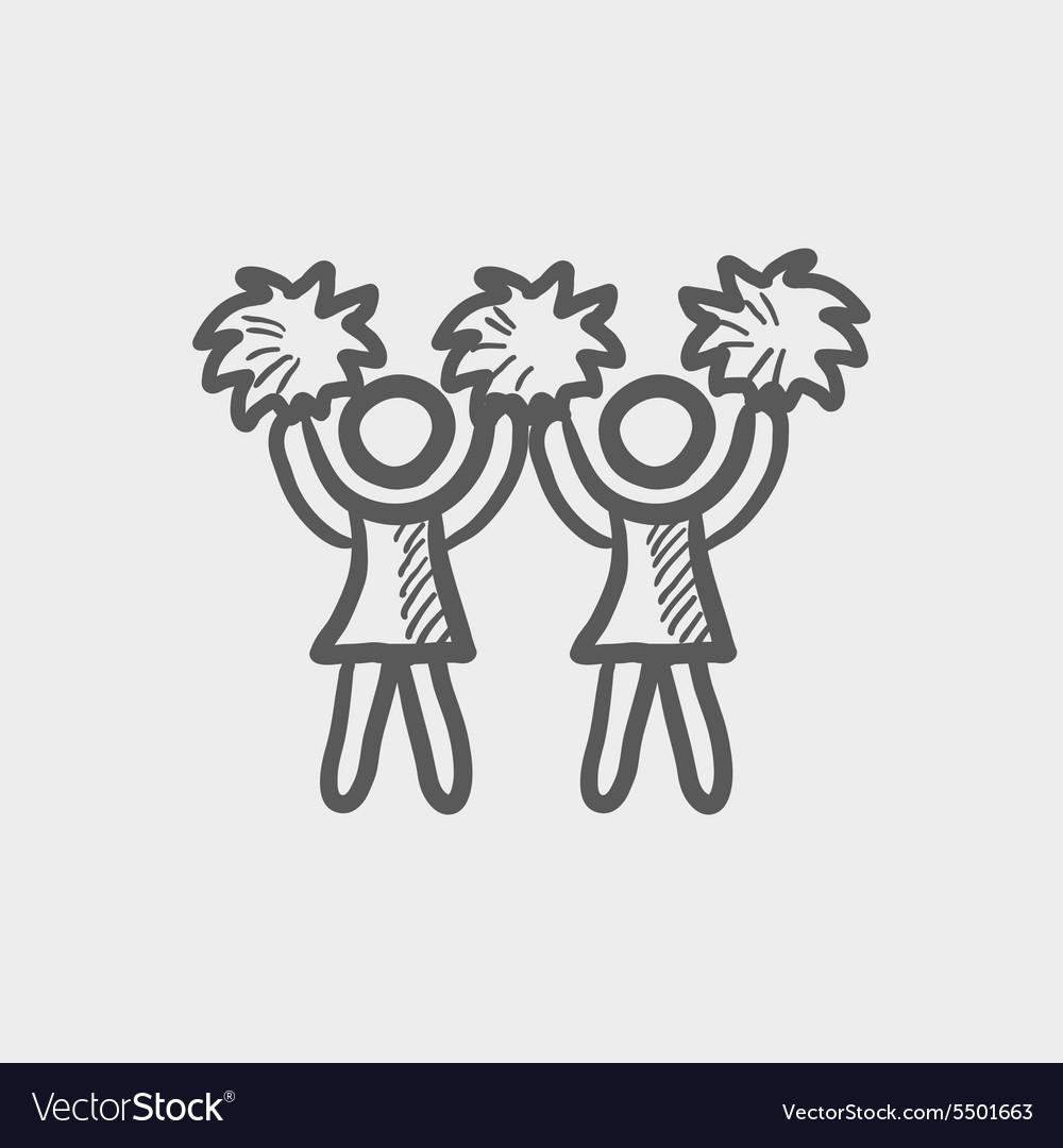 Cheerleader sketch icon vector image