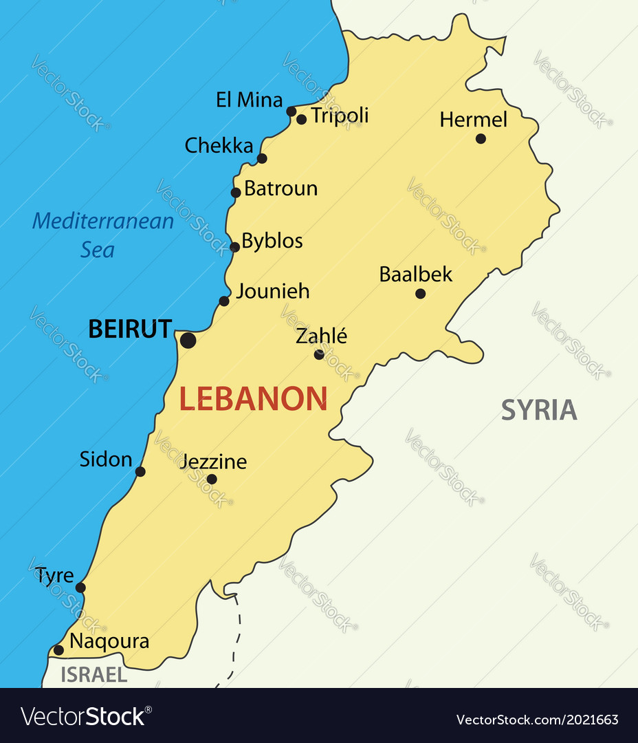 Lebanese Republic Lebanon Map Royalty Free Vector Image - Lebanon map