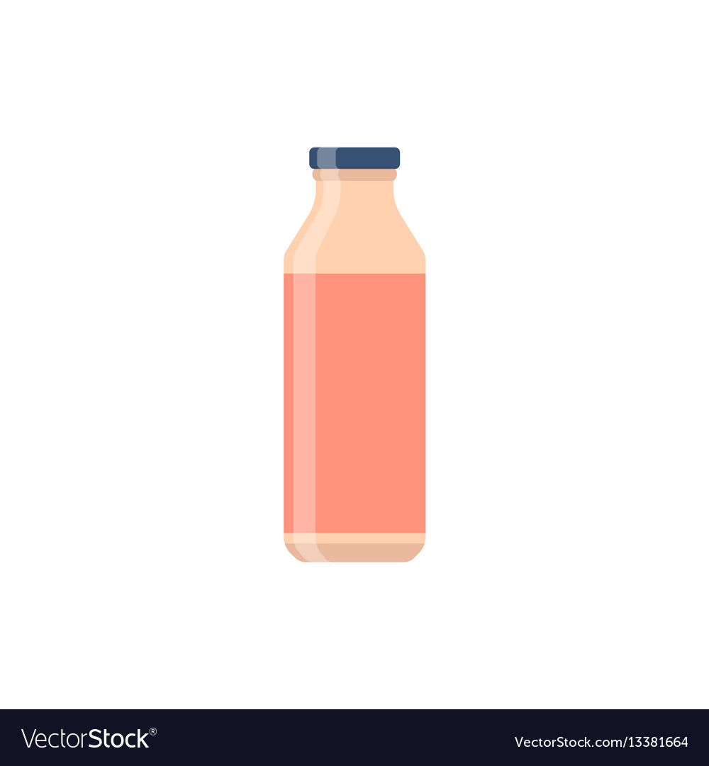 Bottle glass juice flat design vector image