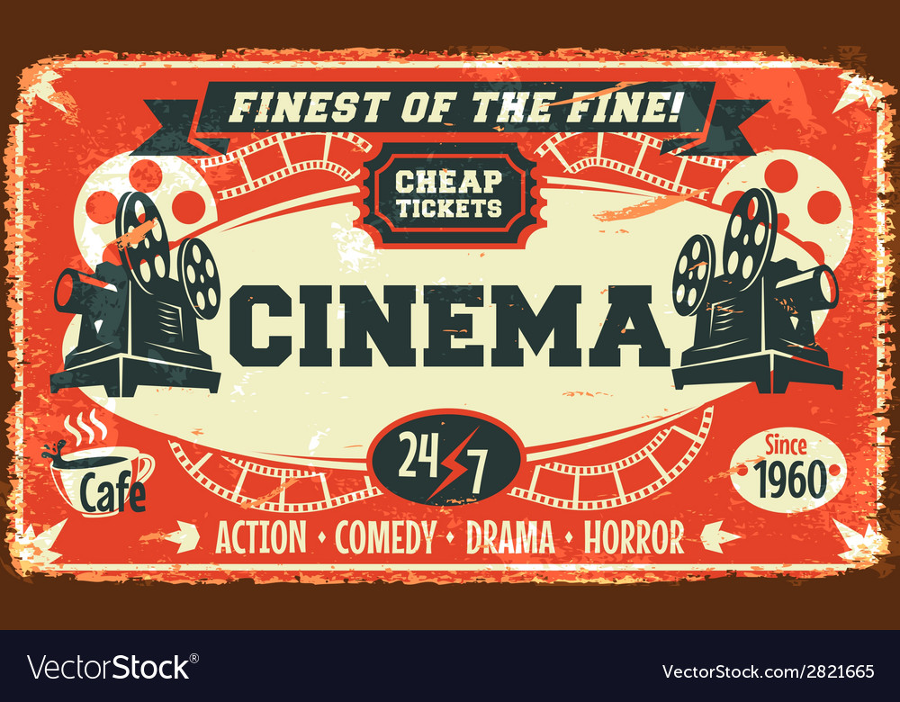Grunge retro cinema poster vector image