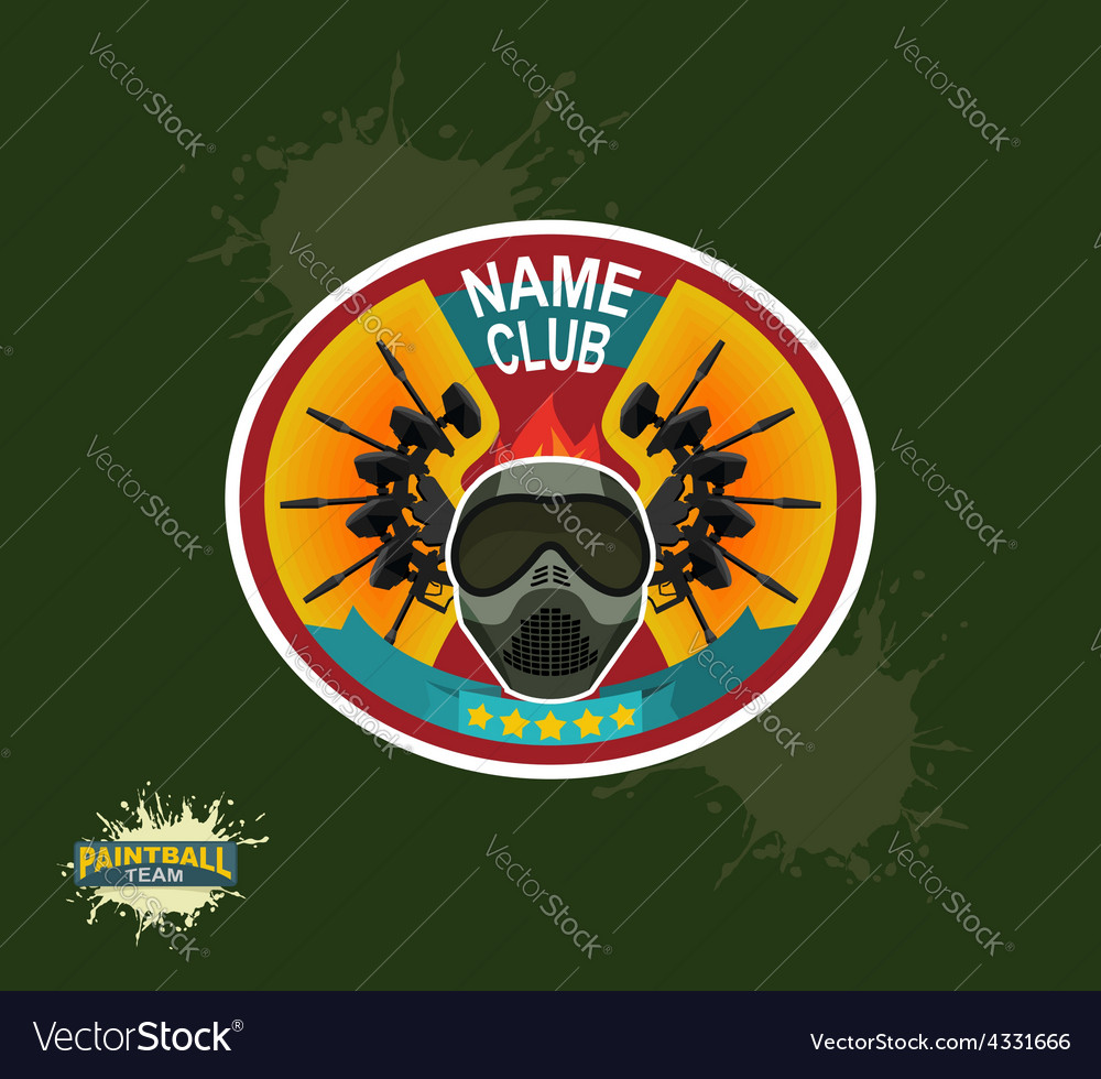 Paintball logo paintball guns Evil paintball mask vector image