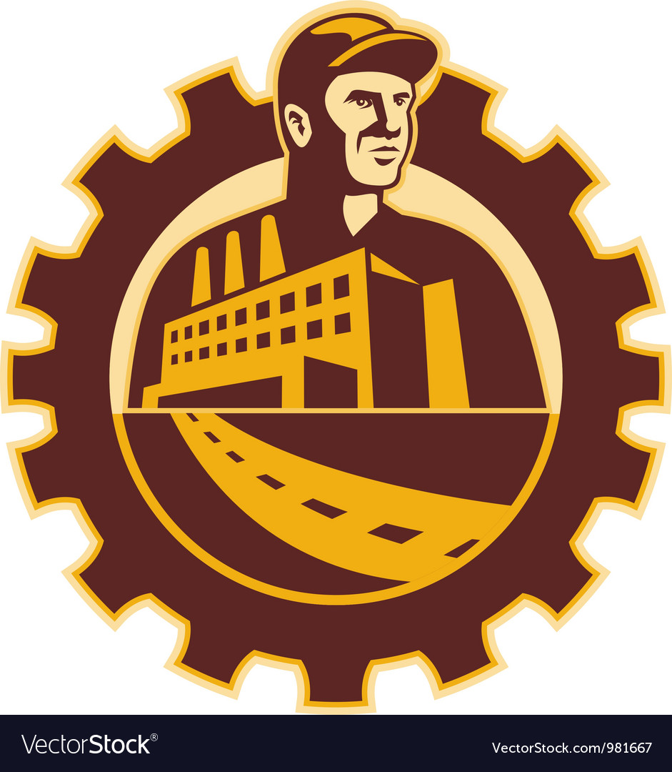 Factory Worker Mechanic With Cog Building vector image