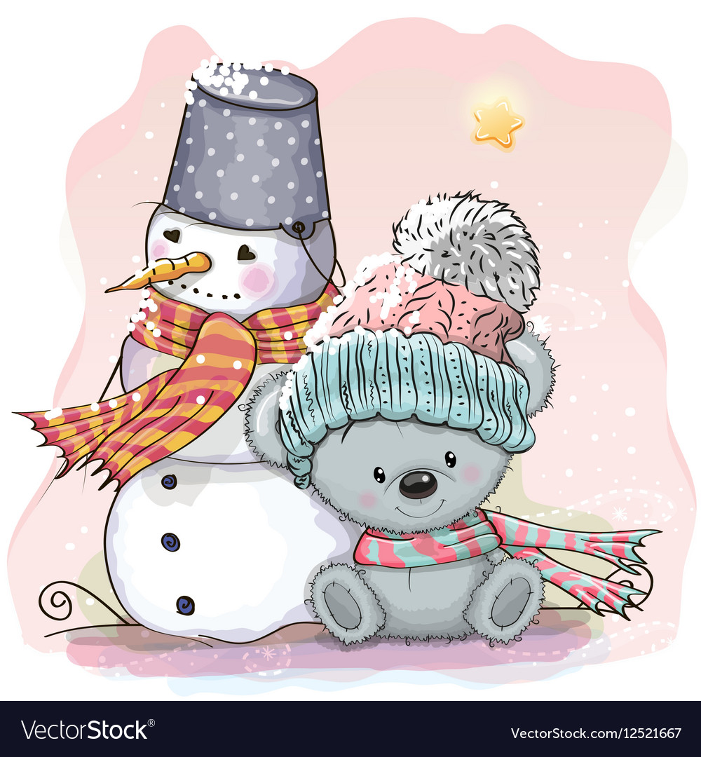 Cute Bear and snowman vector image