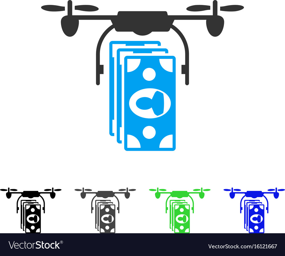 Drone banknotes payment flat icon vector image