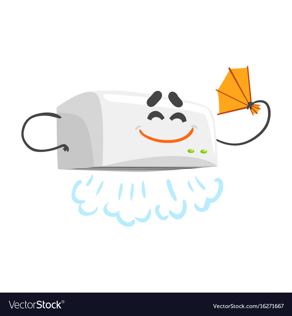 Funny automatic hand dryer character with smiling vector image