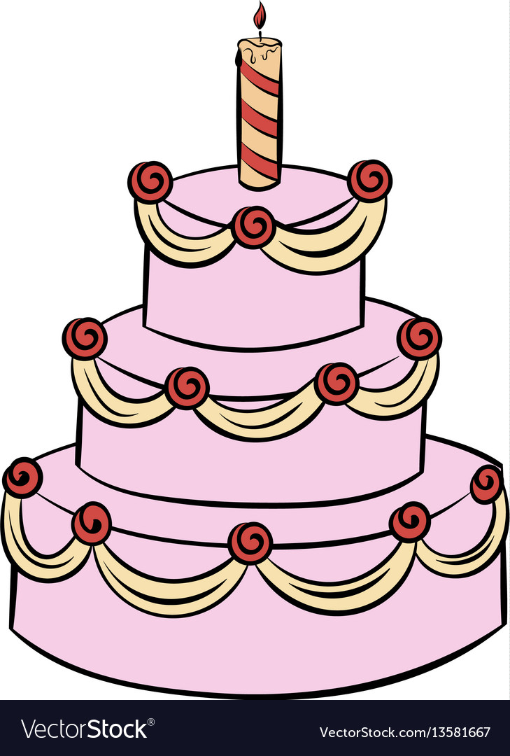 Three-tiered birthday cake icon cartoon vector image