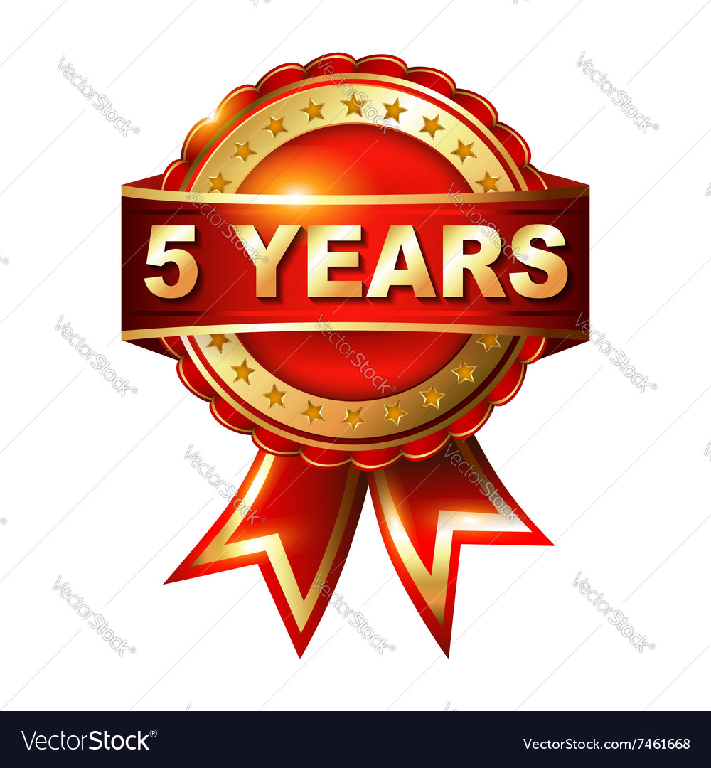 5 years anniversary golden label with ribbon vector image 5 years anniversary golden label with ribbon vector image biocorpaavc Choice Image