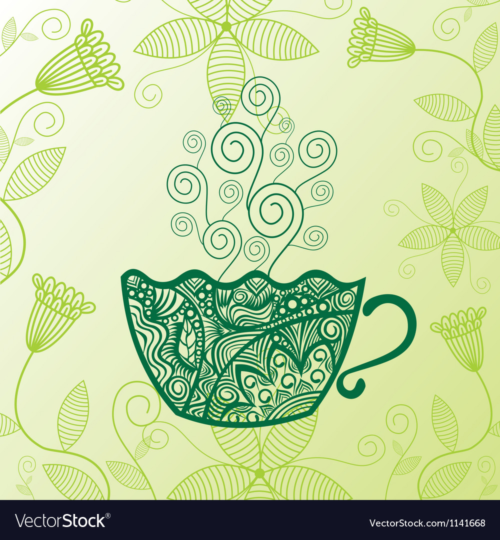 Green tea pattern background Royalty Free Vector Image