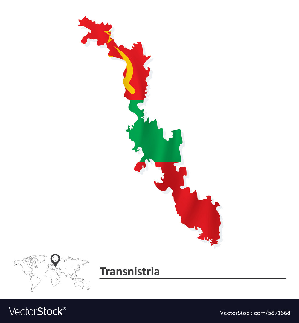 Map of Transnistria with flag Royalty Free Vector Image