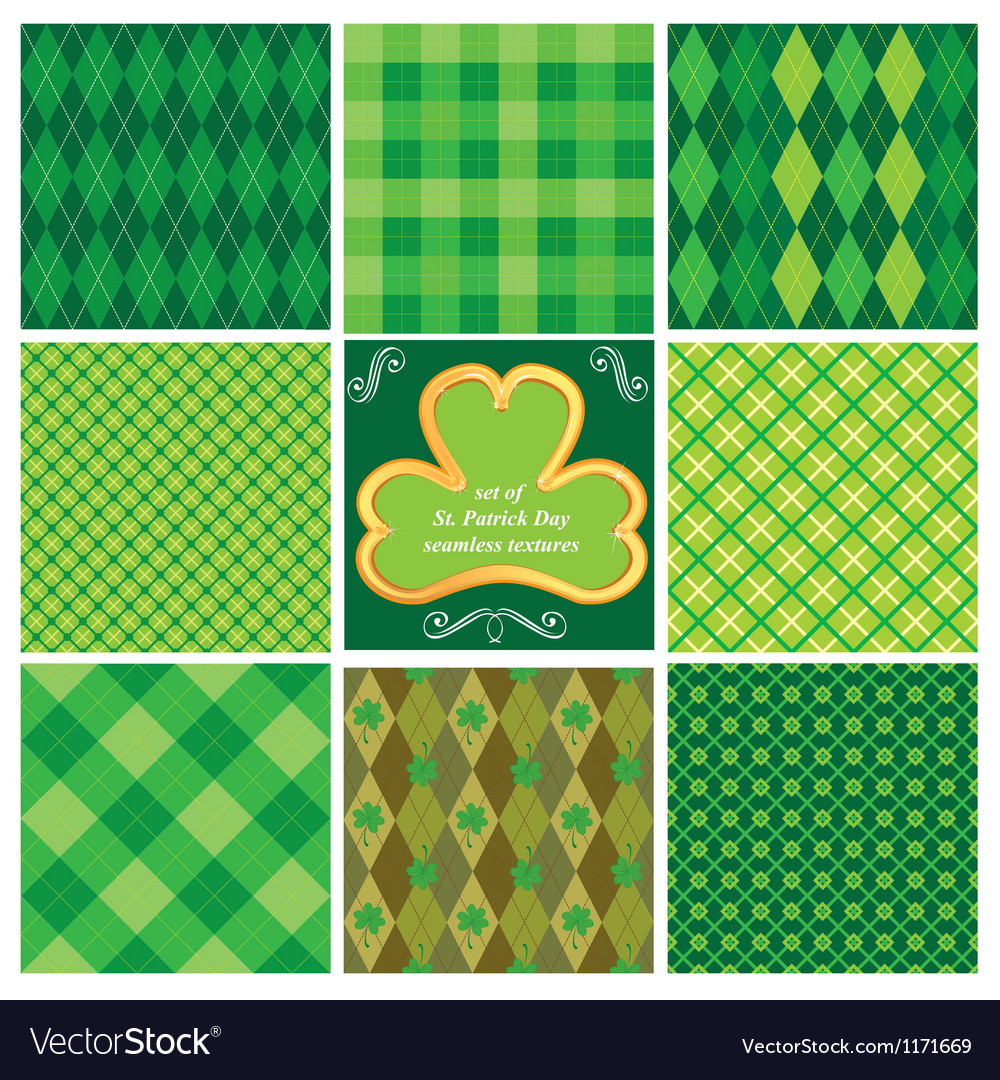 Set of green seamless patterns for St Patricks Day vector image