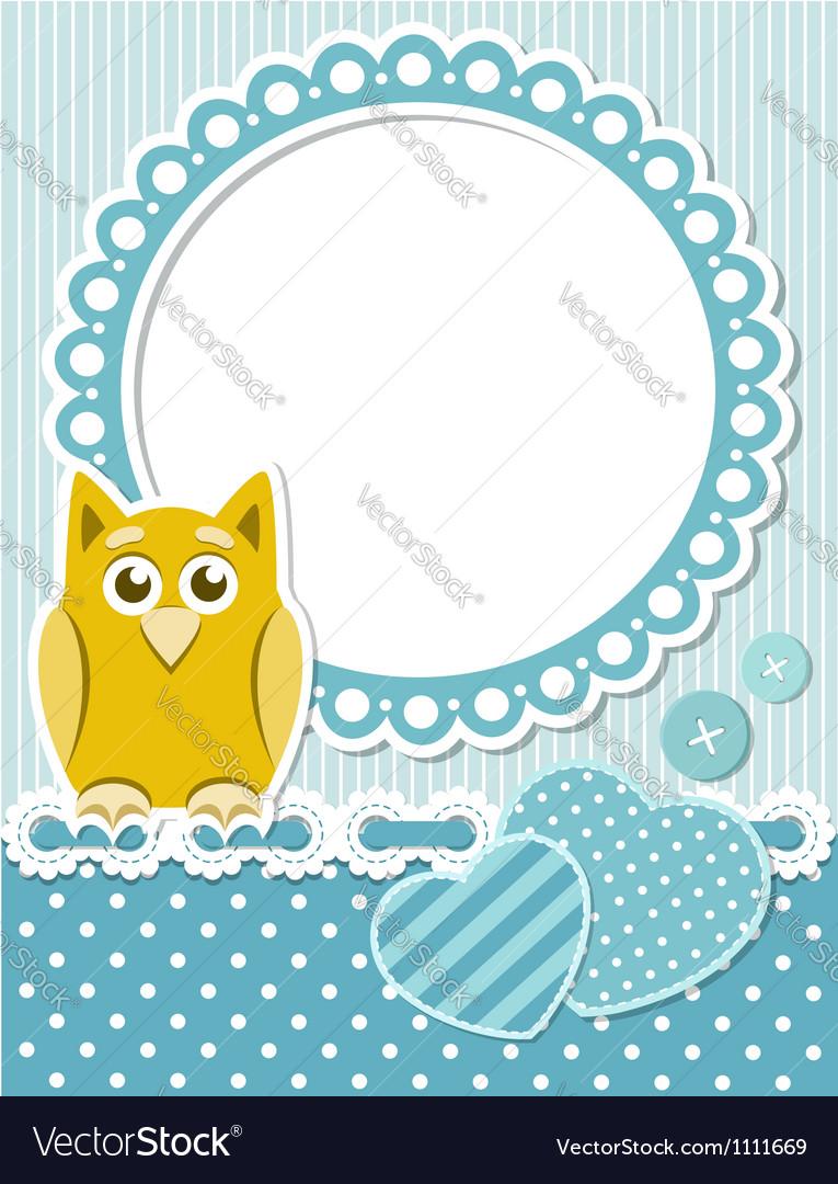 Baby owl blue scrapbook frame vector image