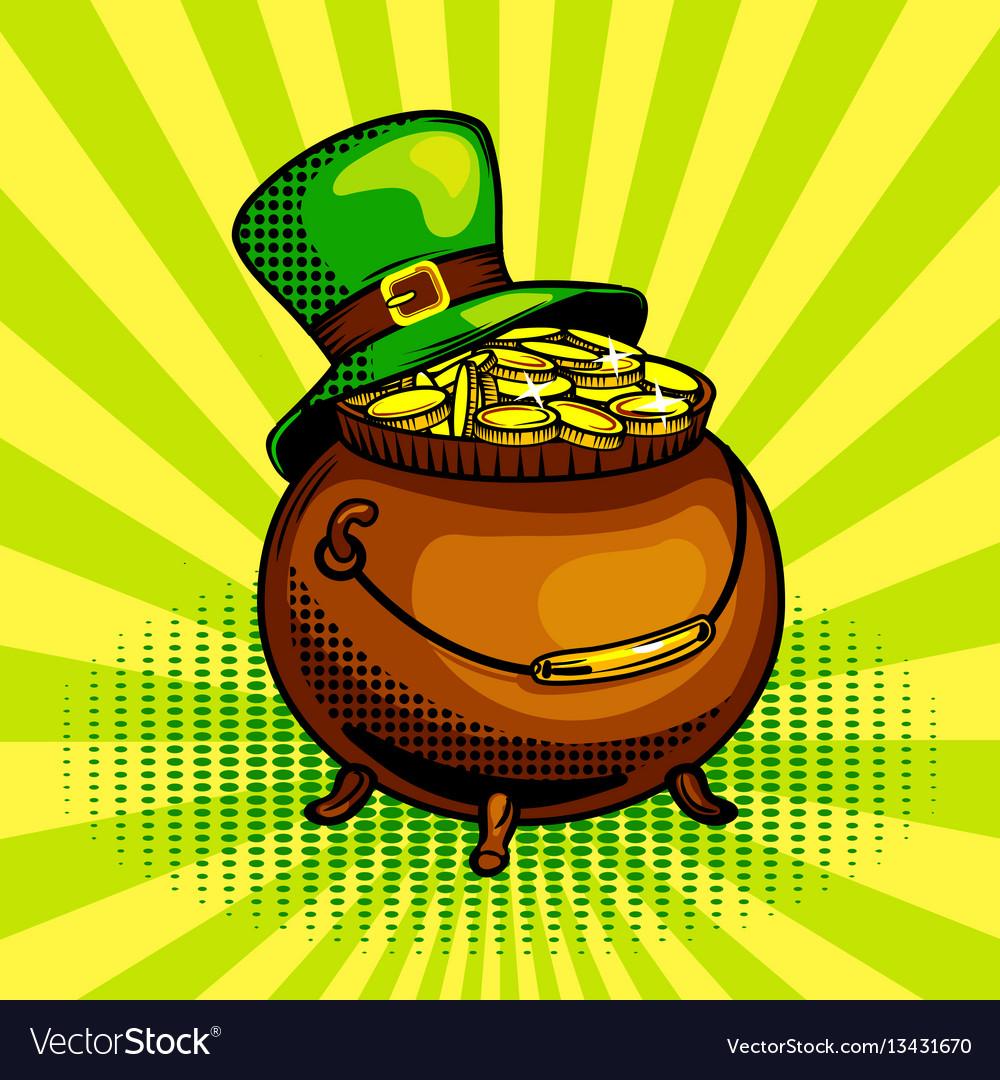 Pot of gold pop art vector image