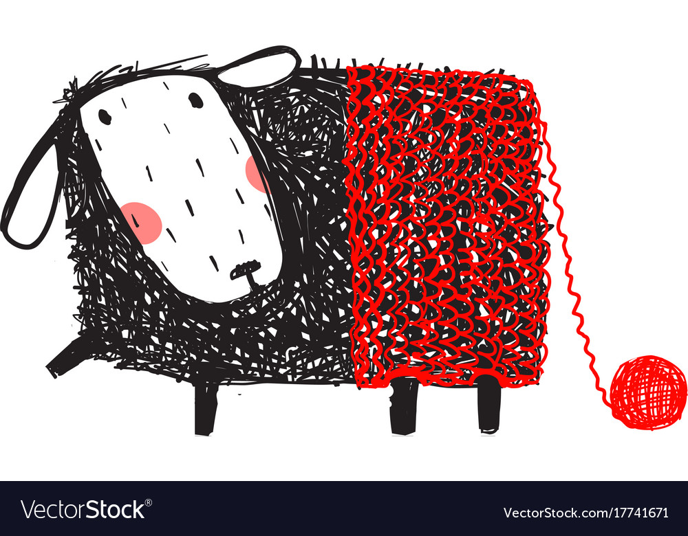 Funny sheep wearing knitted warm pants vector image