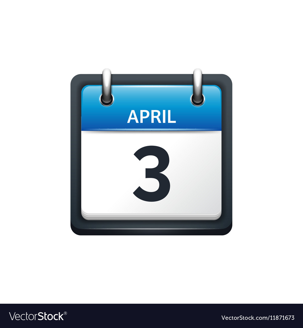 April 3 Calendar icon flat vector image