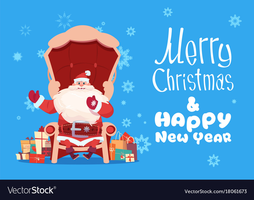 Merry christmas and happy new year greeting card vector image kristyandbryce Image collections