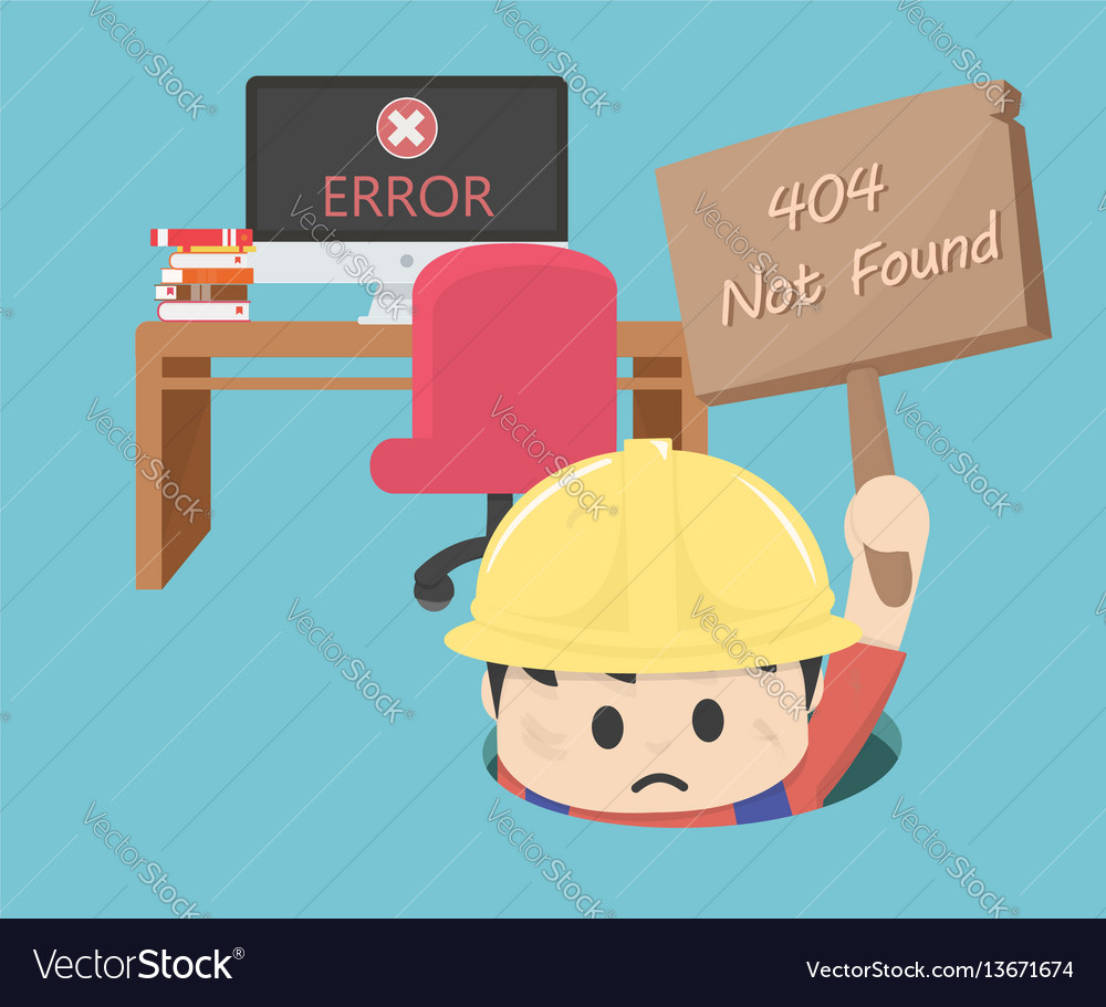 404 not found computer error vector image