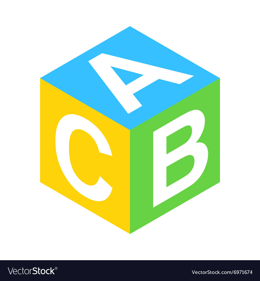 ABC block isometric 3d icon vector image