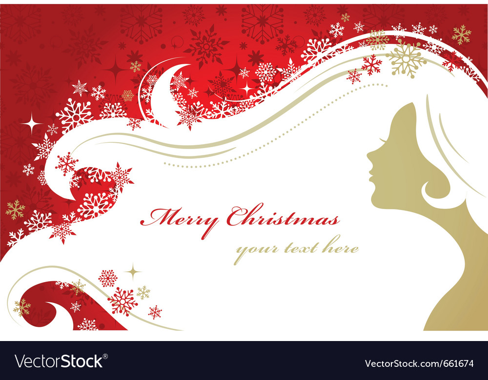 Christmas red background with woman silhouette vector image