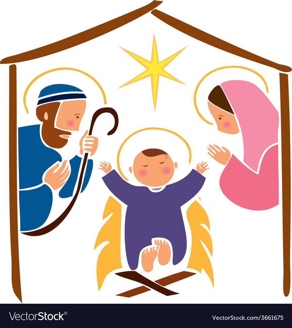 Baby Jesus in a manger 7 vector image
