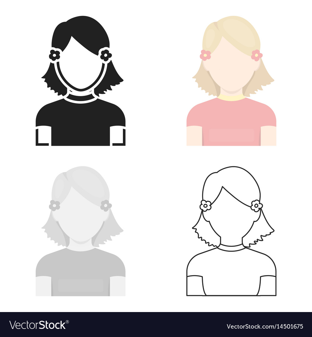 Girl icon cartoon single avatarpeaople icon from vector image
